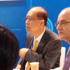 Stanly Chu, presidente di Chinaplas, alla conferenza stampa di Haitian